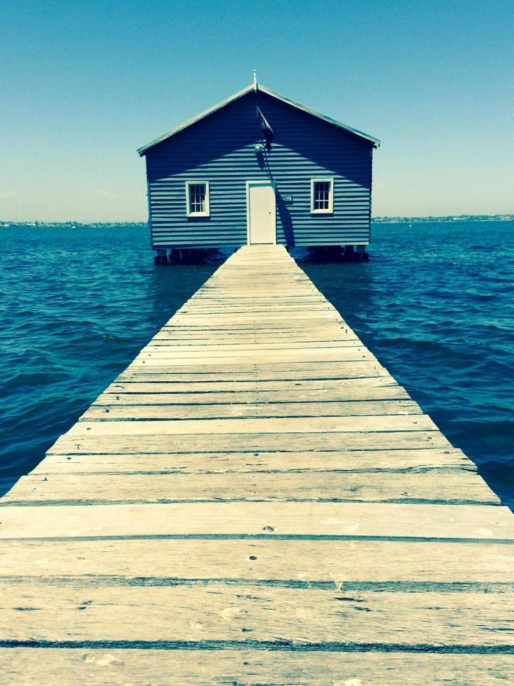 Blue boat house. @TeamWhites photo.