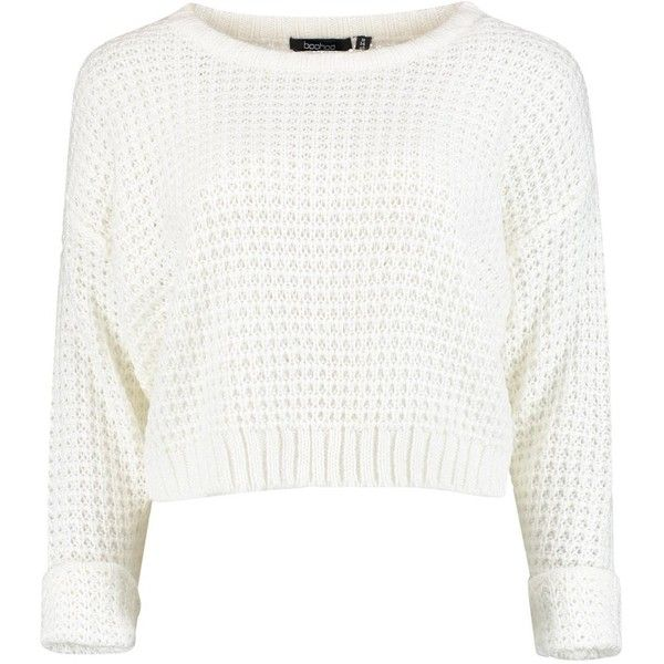 Amber Crop Jumper ($20) ❤ liked on Polyvore featuring tops, sweaters, jumpers, crop tops, sheer sweater, cropped knit sweater, white top, sheer crop top and cropped sweater