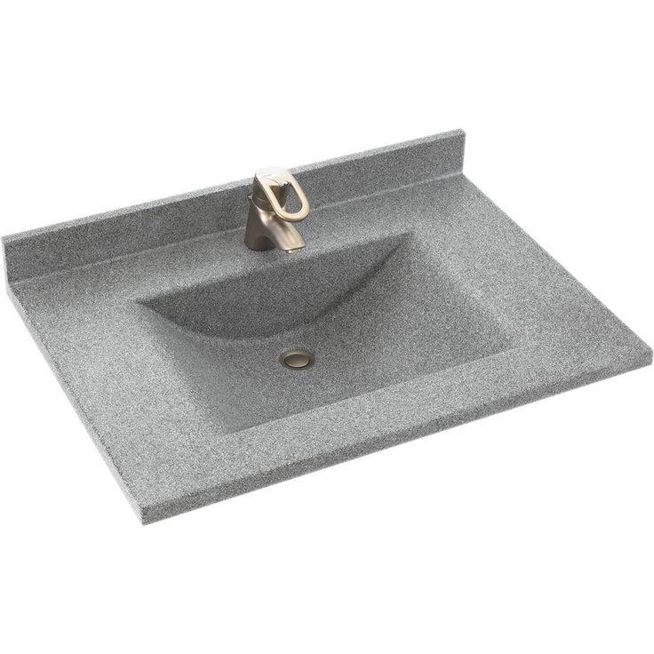 swanstone cv2237042 contour 37 in w x 22 in d x in h vanity top in gray granite with gray granite basin