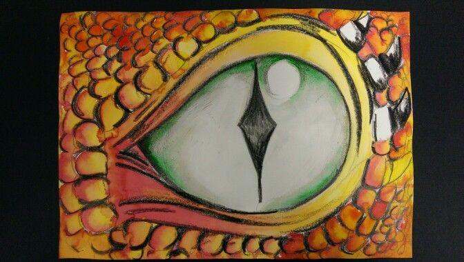 Dragon Eyes - Year 3/4 - black wax crayon and ink.