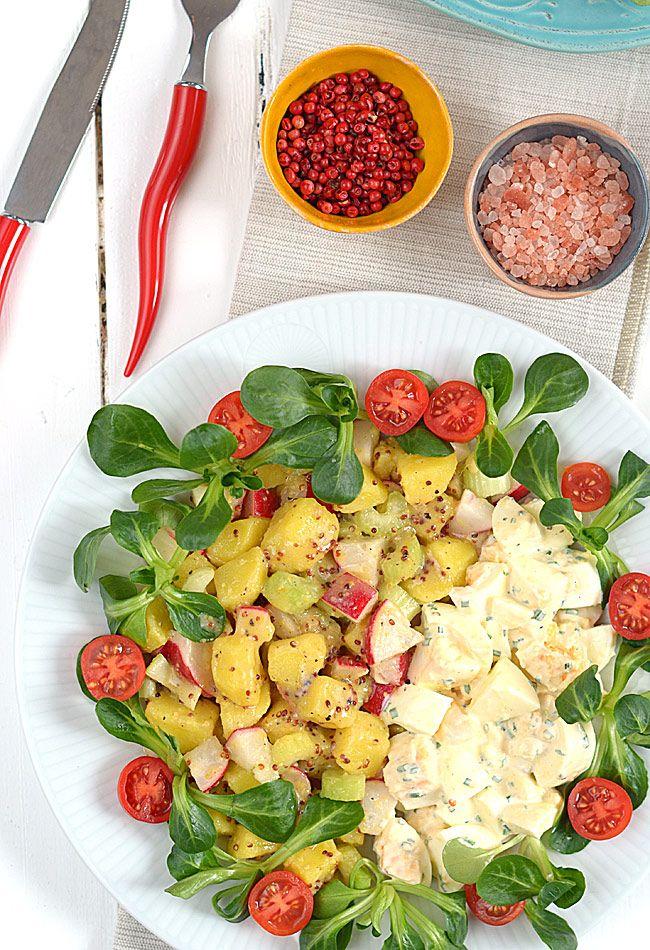 Lekka sałatka ziemniaczana z sałatką z jajek - bo oddzielnie razem smakują lepiej :)