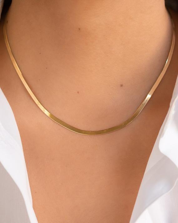 14k Gold Herringbone Chain Necklace Etsy In 2021 Chain Necklace Gold Chain Necklace Thick Gold Chain Necklace