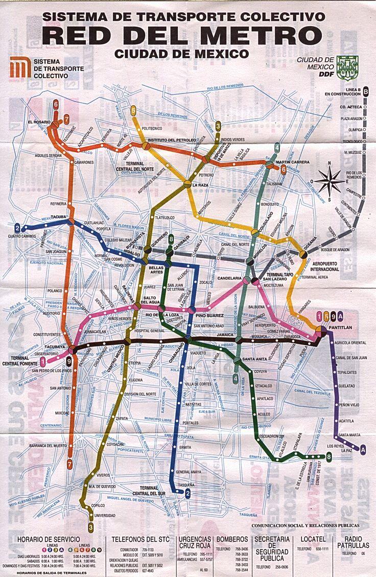 Mapa del metro de México, D.F., con calles