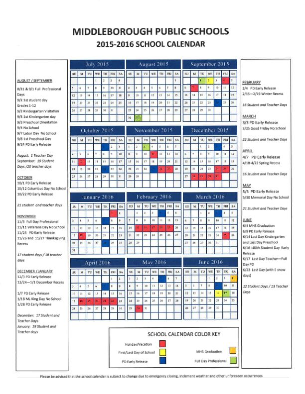 Middleboro, MA 2015-2016 School Calendar Middleborough, MA - school calendar