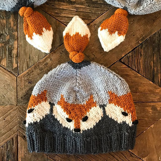 Knit An Adorable Fox Hat – It Has a Tail On Top!