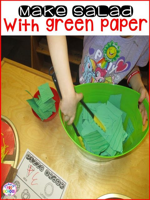 Pizza Restaurant in the dramatic play center: make salad with green paper