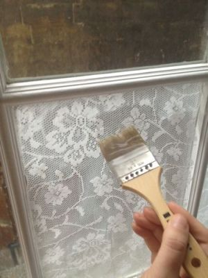 Add lace to your window with cornstarch. Iron your lace and cut to fit. Mix 2 tbsp cornstarch with about an equal amount of cold water, then...