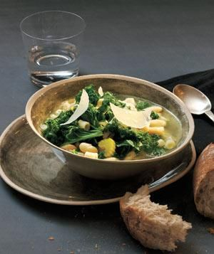 Vegetarian: A simple broth is loaded with pasta, garlic, kale, and rosemary for a decidedly Italian taste. Add a Parmesan rind while the soup simmers to infuse it with flavor.
