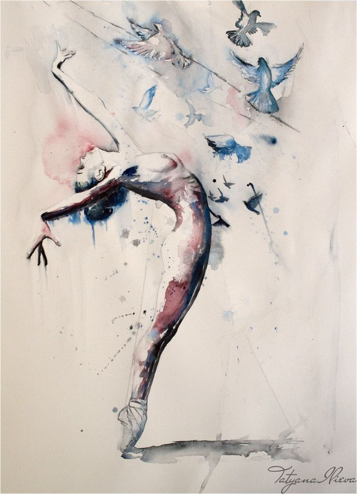 Ballerina watercolor art print. Wall art wall by TatyanaIlieva