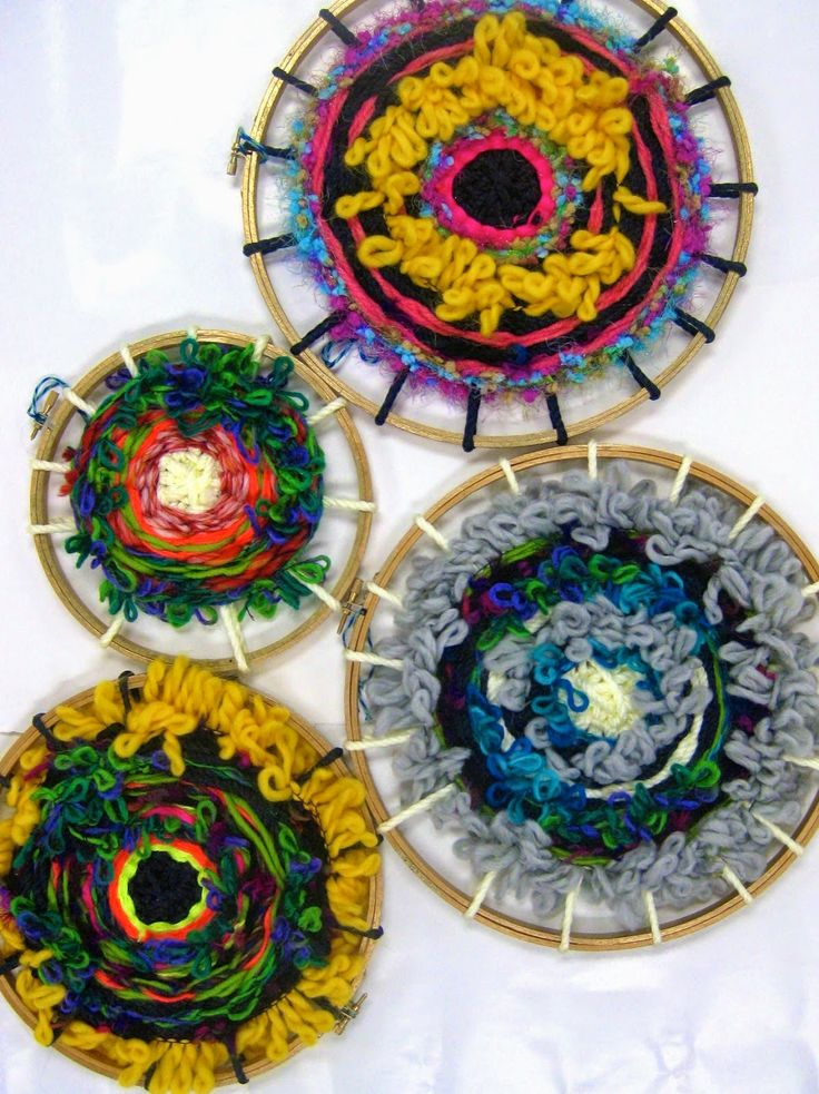 Circle loom weaving - cd and or embroidery hoop, Gr.2 + - lesson plan by Cassie Stevens.