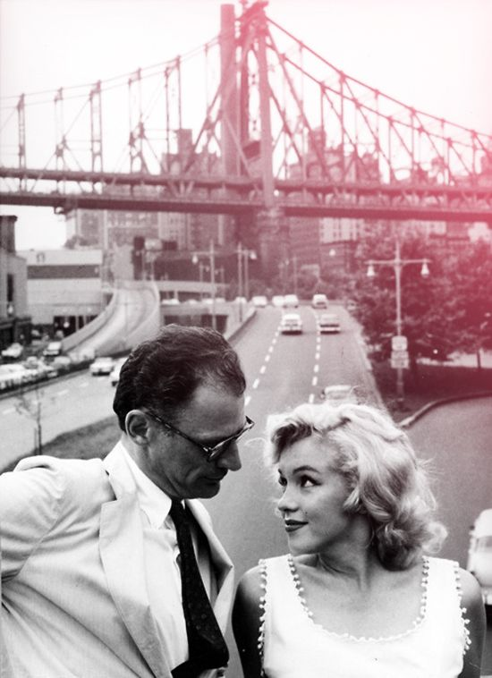 Arthur Miller and Marilyn Monroe photographed by Sam Shaw in NYC in 1957