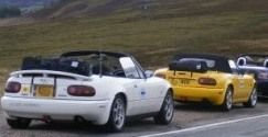 Boot-bags on a Mazda MX5 Owners Club Roadtrip much better than a luggage rack