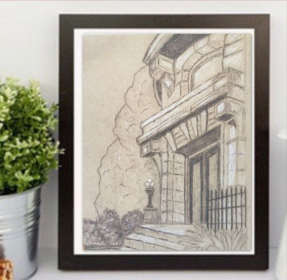 Pencil sketch, architecture print. Graphite Drawing, Mansion drawing New Orleans Garden District #neworleans #mansion