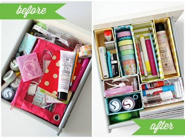 Op maat gemaakte doosjes voor in je lade. Mooie oplossing om je rommel te organiseren! Tutorial op de site. Dat wordt doosjes sparen :-)
