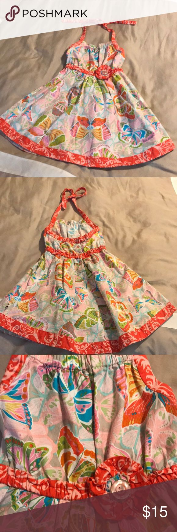 Girls halter sundress Sam and Sydney boutique Halter Sundress. Very well made. Great condition. Bright and beautiful!   Make an off on a bundle for the best price! Non Smoking/Cat Free Home. Sam & Sydney Dresses Casual