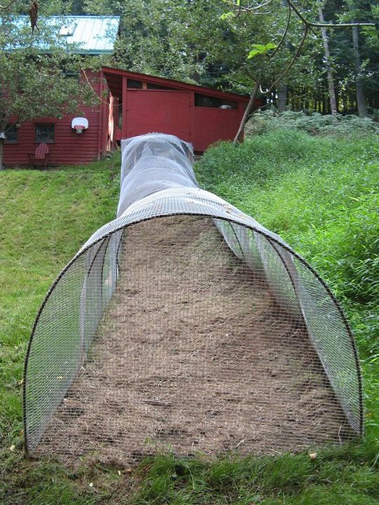 """Chicken tunnels made from rebar hoops and 1/2"""" weld wire.  I can make them off the back of my coop"""
