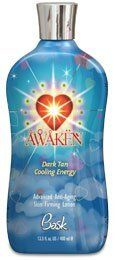 Bask Awaken Dark Tan Cooling  Energy Advanced Anti-aging Skin Firming Lotion 13.5 oz. by Bask. $18.05. Awaken your passion for a golden glow. Contains cool action for skin stimulation and tanning absorption. BASK Awaken your passion for a golden glow with this refreshing, cool intensifier lotion containing skin firming and anti-aging properties. Contains cool action for skin stimulation and tanning absorption, Vitamins A, C and E to protect against free radicals and advanced Ty...