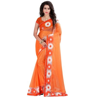 Buy Today Fabulous Orange Color Lycra Embriodered Designer Party Wear Saree by…