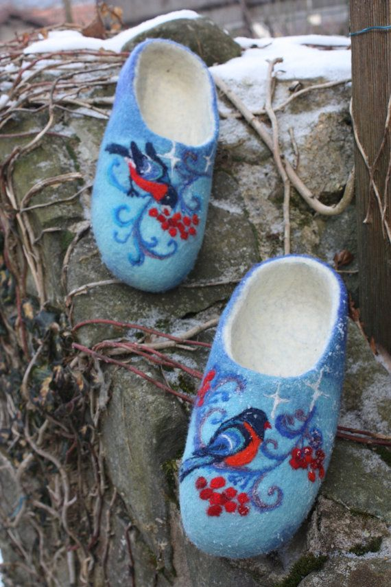 Felted Slippers Winter time Made to order by IrinaU on Etsy