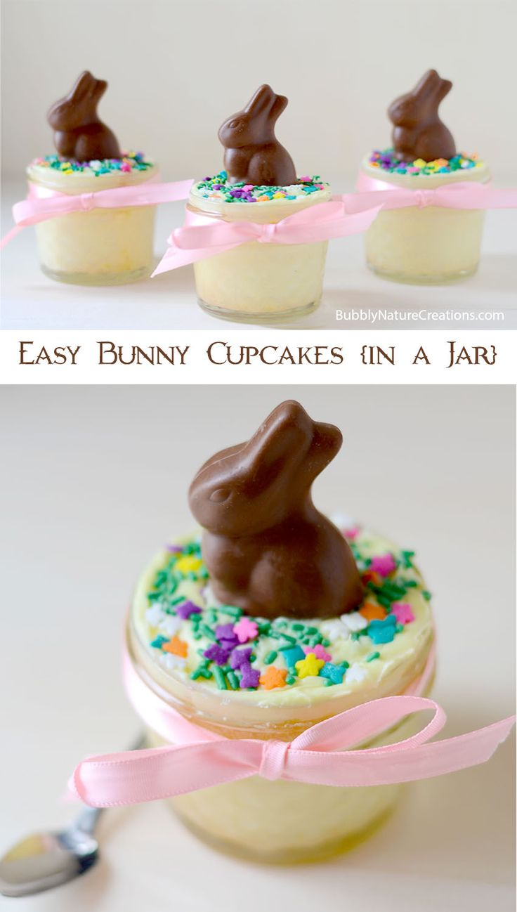 Easy Bunny Cupcakes {in a Jar}  Cupcakes baked in a jar are a perfect way to keep the cake moist!   Place a mini chocolate bunny on top to make it Easter themed... so easy!