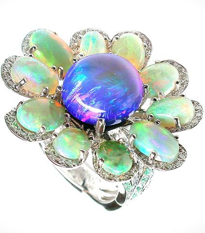 Mathon Floral ring / White gold / diamonds, Black opal, White opals, Paraiba tourmalines and sapphires
