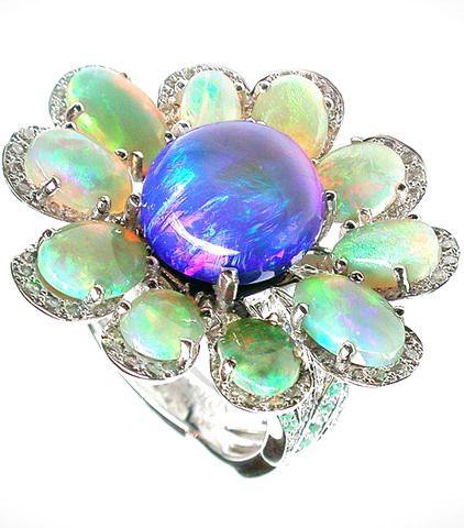 Mathon Floral ring / White gold / diamonds, Black opal, White opals, Paraiba tourmalines and sapphires