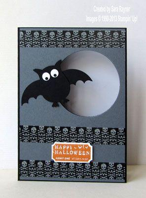 "Cute ""Happy Halloween"" Card...with bat & googly eyes and washi tape...Sara…"