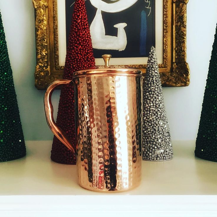 Copper water pitcher from @shantivashop.  Looking forward to the many benefits of drinking water from this pretty pitcher. .