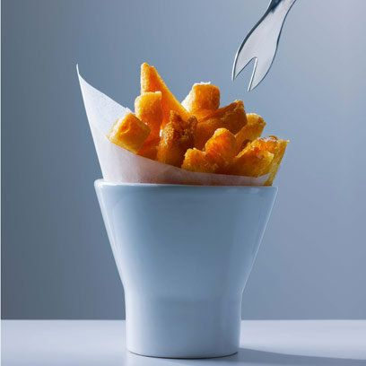 Heston Blumenthal's triple cooked chips. Don't be tempted to fry the chips only once, the key to a deliciously crispy and golden chip is in cooking them in three stages.