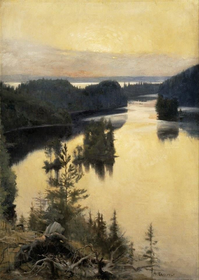 """Kaukola Ridge at sunset"" (1889 - 1890) By Albert Edelfelt, Finnish Artist (1854-1905) oil on canvas"