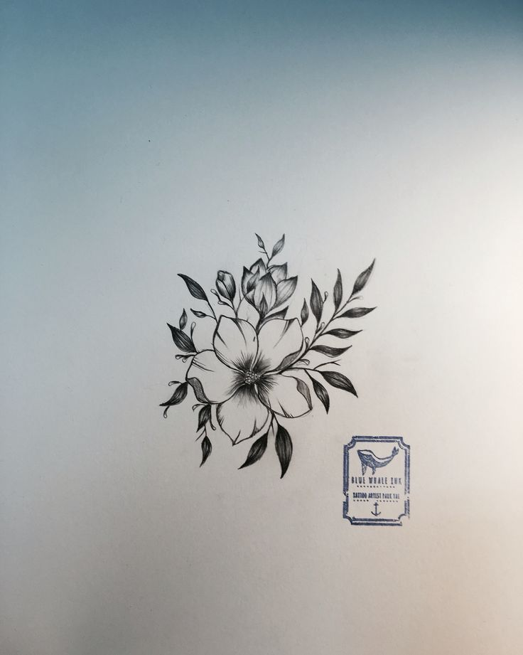 Single flower tattoo design from blue whale ink design by for Single flower tattoo