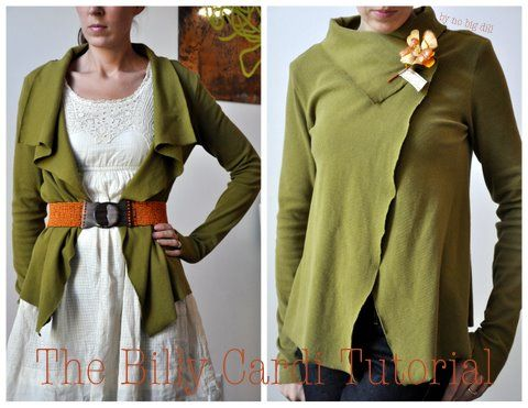 Free sewing tutorial for a 2-way cardigan