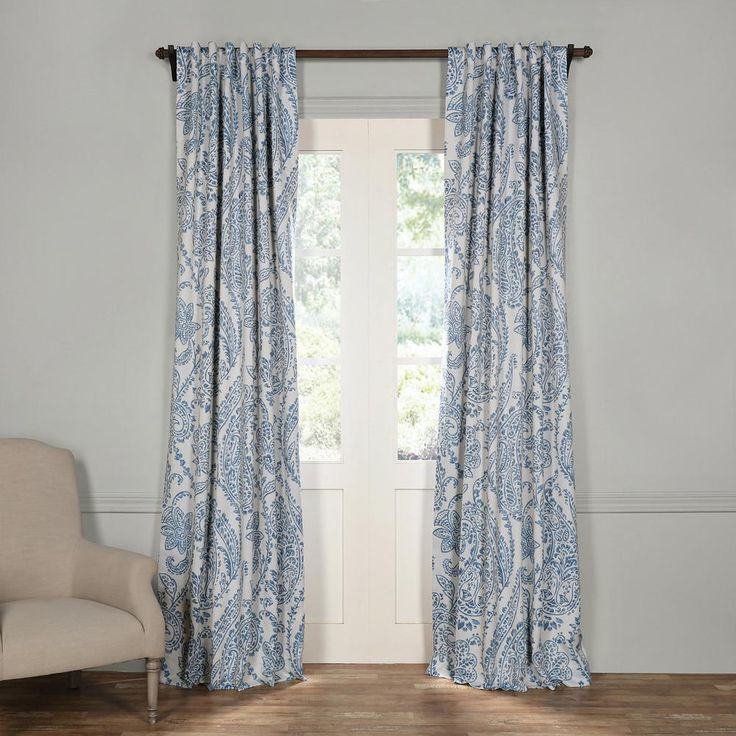 Exclusive Fabrics & Furnishings Tea Time China Blue Blackout Curtain - 50 in. W x 108 in. L (Pair)