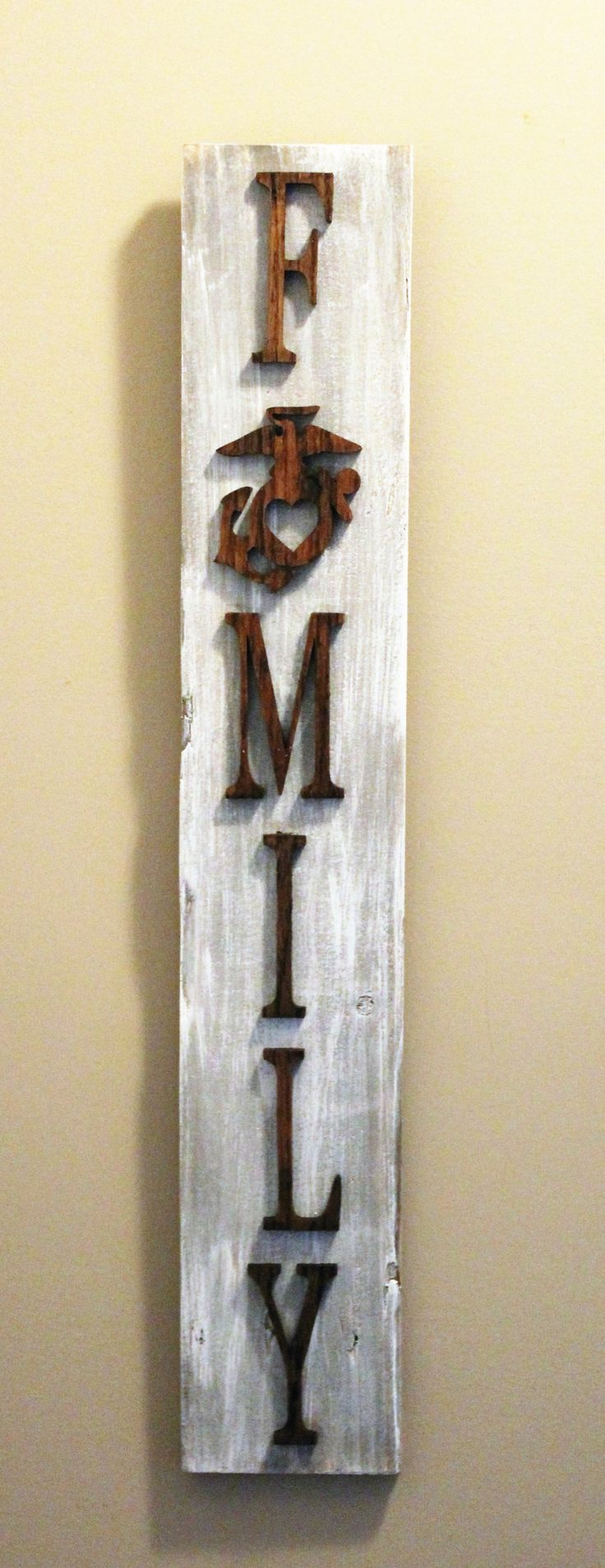 USMC Family Sign With EGA Made From Reclaimed Wood And Solid Oak Letters