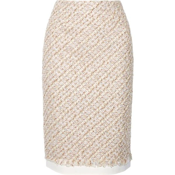 OSCAR DE LA RENTA   Canvas-trimmed metallic tweed pencil skirt ($480) ❤ liked on Polyvore featuring skirts, multi color skirt, oscar de la renta skirt, tweed pencil skirt, multicolor pencil skirt and fringe pencil skirt