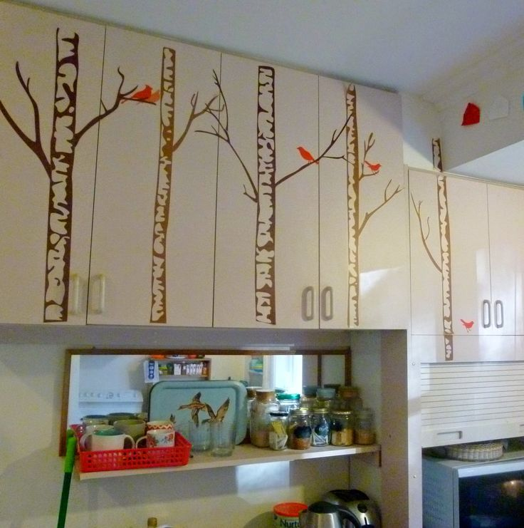 { Genesis found x o x o } wall decals for terrible coloured cabinets