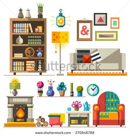 Home furniture. Interior design. Set of elements: wardrobe,bookcase, sofa, fireplace, clock, lamp, flowers, pictures. Decorating zone of rest and sleep. Vector flat illustrations