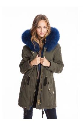Manteau d'hiver, look, fashion, mode hivernale, bleu, fourrure, kaki