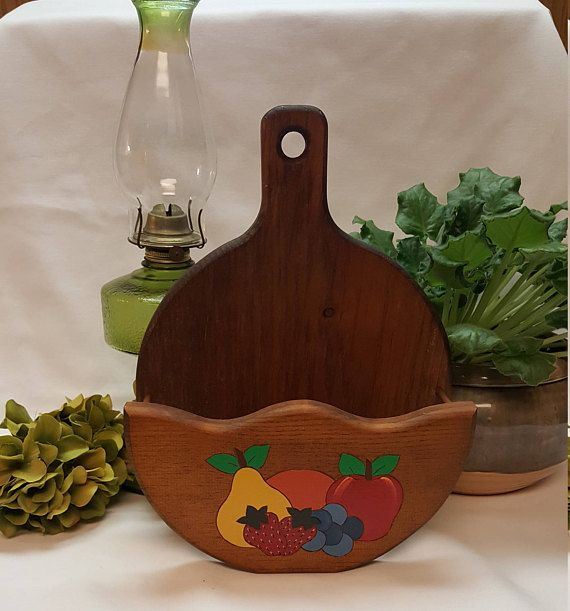 UNUSUAL Wooden Kitchen Planter Napkin Holder Rustic Country
