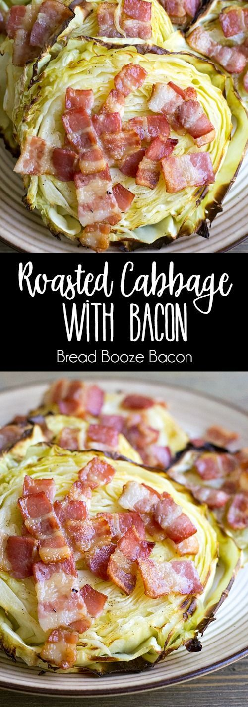 Roasted Cabbage with Bacon is an easy side dish that's perfect alongside corned beef! via @breadboozebacon