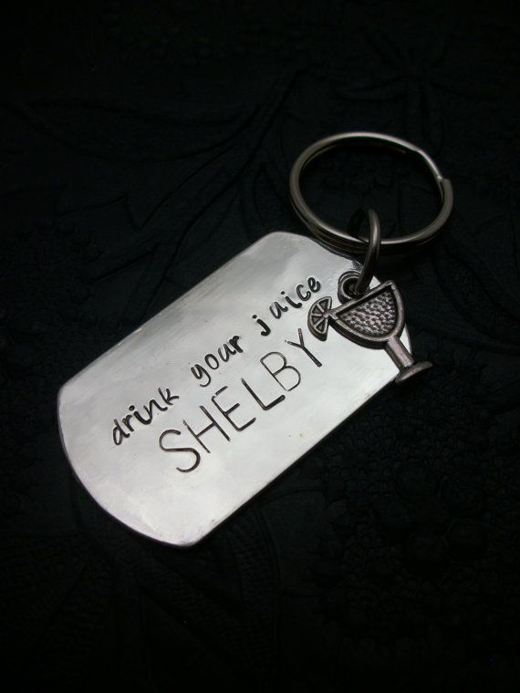 """SM """"drink your juice SHELBY"""" Dog Tag Metal Stamped Keychain by BuyThePlaceWithBeads"""