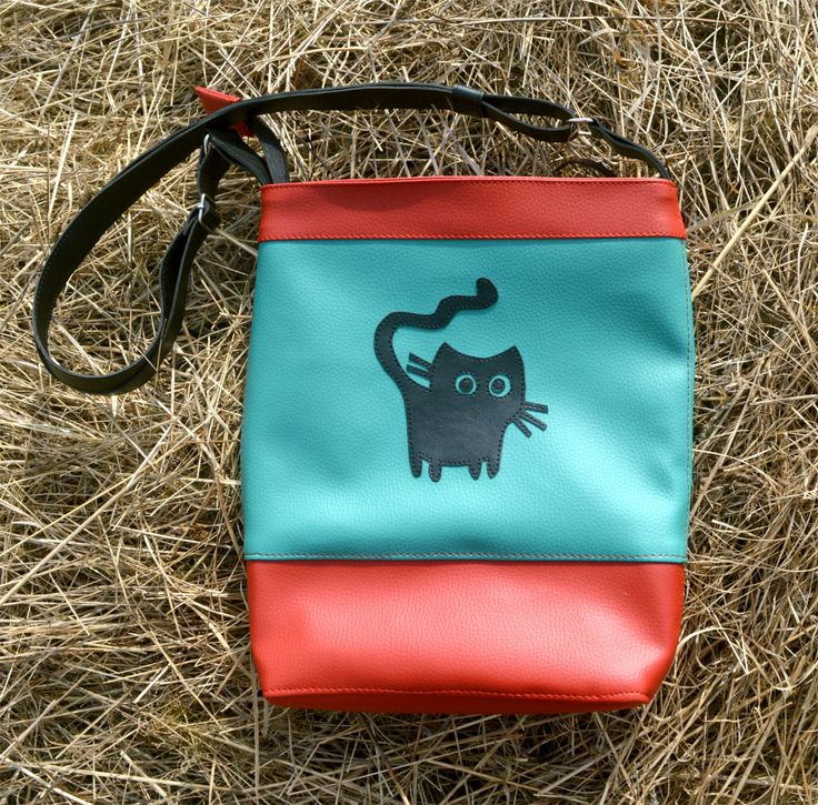 Handmade handbag! with black cat, made of red and turquoise faux leather, super cute!Only one! by YapokBags on Etsy