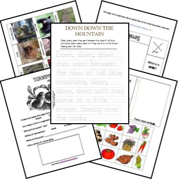 Down Down the Mountain Unit Study  Author: Ellis Credle      level 3 lessons and lapbook printables by   Wende, Tamara, and Ami
