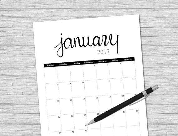 2017 Calendar (Printable Calendar) Black & Grey by VLHamlinDesign