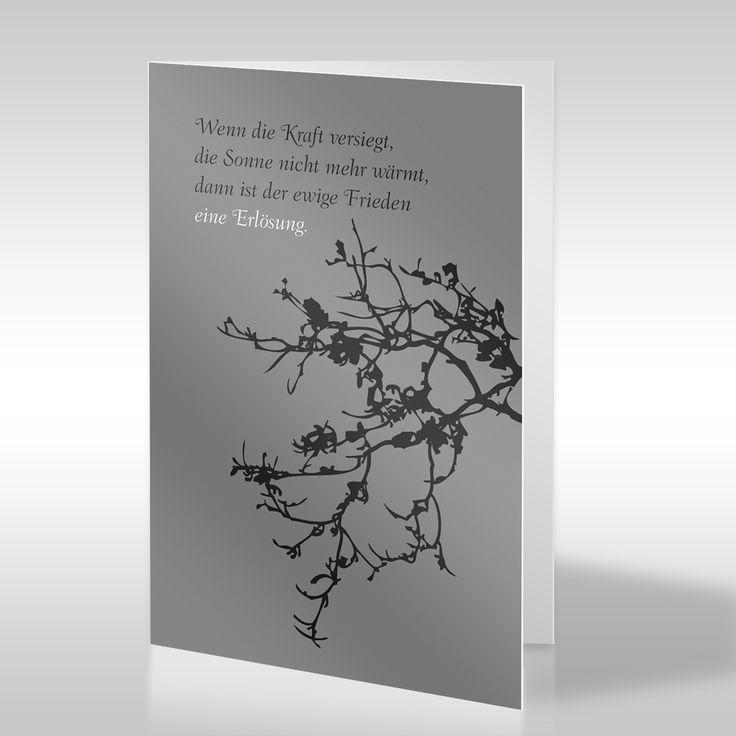 Diese naturbezogene, religionslose Trauerkarte, die das Motiv des alten Baumes mit trockenen Ästen zeigt, besticht durch ihre Klarheit und Einfachheit. Der für das Ende und den Abschied des Verstorbenen stehende Zweig weist eine starke Verästelung auf, die für einen lange beschrittenen Lebensweg steht. Die Erlösung ist ein Abschluss nach einem erfolgreichen Leben. https://www.design-trauerkarten.de/produkt/trauerzweige/
