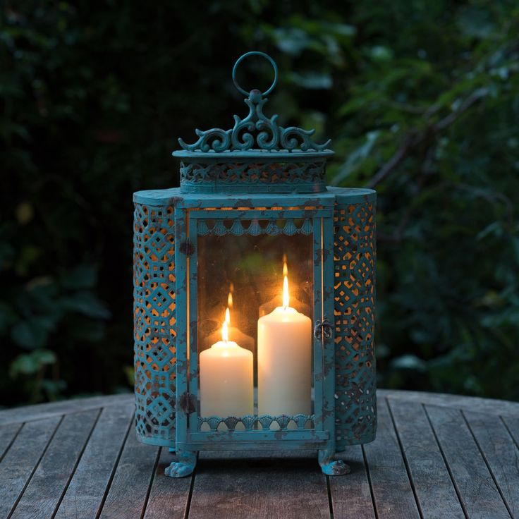 Antique Style Large Blue French Garden Candle Lantern For Home U0026 Garden