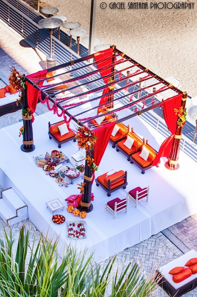 Indian wedding mandap, Suhaag Garden, outdoor wedding, Bamboo theme, rooftop, brown and orange