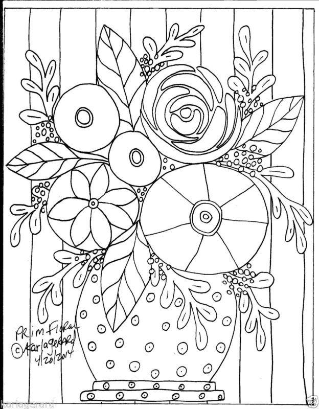 Alfombra De Enganche Craft patrón de papel Prim Floral arte popular primitivo de…