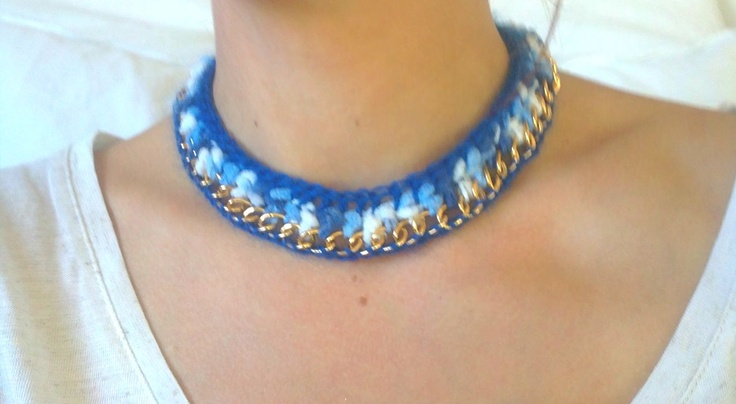 *Baby blue * Crochet necklace with golden chain ♥