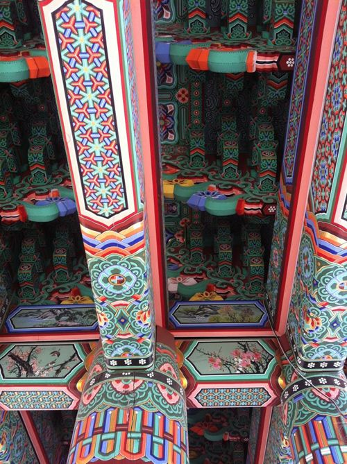 Pillars at the Deoksugung Palace. These colorful paintings are all over Korean Buddhist temples and palaces.